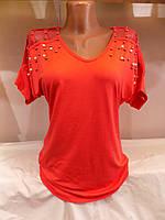 Женская футболка лето жемчуг сетка полубатал (S/M L/XL) Турция СП