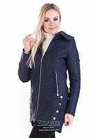 Шерстяное пальто полуприталеного силуэта Грейс Темно-синий (шерсть) V-g