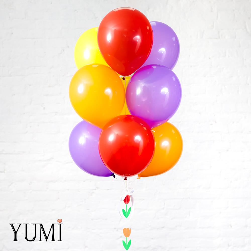 Яркая композиция из шаров с гелием для девушки