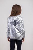 Облегченная весенняя куртка серебро, подростковая для девочек. ТМ Сьюзи рост 122-158