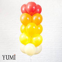 Связка градиент из 15 шаров айвори, желтых, мандариновых, оранжевых и красных