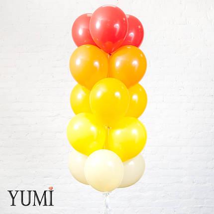 Связка градиент из 15 шаров айвори, желтых, мандариновых, оранжевых и красных, фото 2
