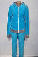 Красива жіноча піжама микрофлис блакитна оптом і роздріб