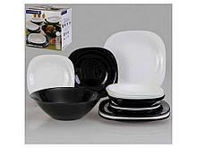 "Обеденный набор посуды 19 предметов Carine Black White (N1491) ""LUMINARC"""
