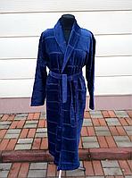 Махровый мужской халат синего цвета (M), фото 1