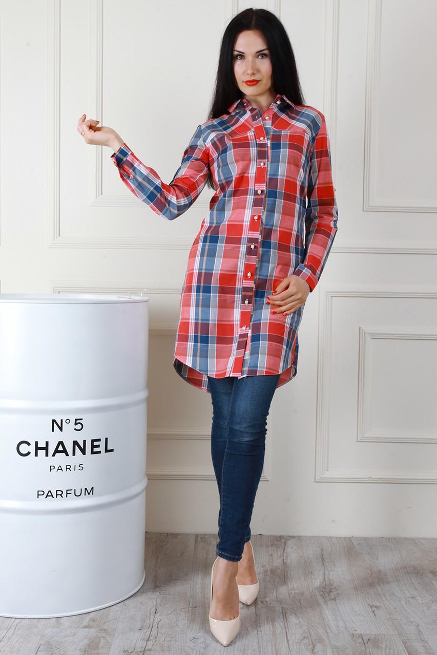 34ff27c865a Универсальная красивая длинная хлопковая рубашка в клетку - Exclusive в  Хмельницком