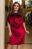 Платье Коктейльное велюровое бордовое с гипюром Батал