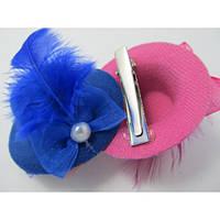 Уточка шляпка с шифоновым бантиком и пером