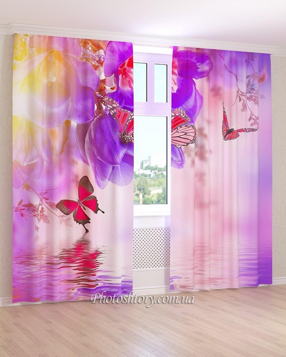 Фотошторы синие цветы и красные бабочки