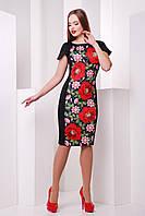 Сукня трикотажна з принтом вишивки, фото 1