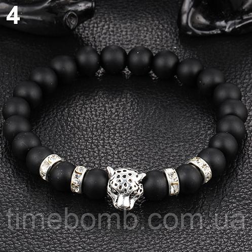 Мужской браслет Серый Леопард из гладкого камня