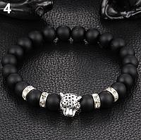 Мужской браслет Серый Леопард из гладкого камня, фото 1