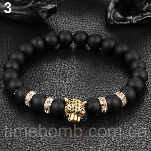 Мужской браслет Золотой Леопард из гладкого камня