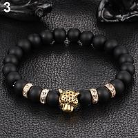 Мужской браслет Золотой Леопард из гладкого камня, фото 1