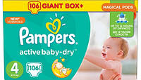 Подгузники Pampers Active Baby-Dry Maxi 4 (7-14кг), 106шт MEGA PACK