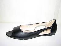 Женские черные балетки большого размера с открытым носком 41 42 43