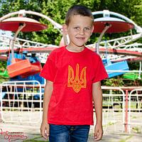 Футболка дитяча Тризуб вишитий червона, 116