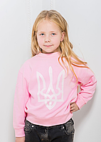 """Світшот """"Тризуб"""" - рожевий, білий тризуб 9-10 років дит."""
