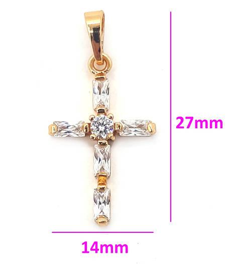 Крест с багетным цирконием, позолота