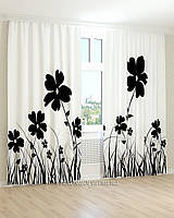 Фотошторы черные цветы 3Д
