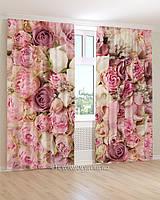 Фотошторы розовые и белые цветы 3д