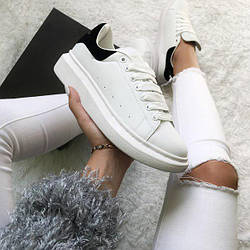 Кроссовки женские Alexander McQueen Oversized Sneaker White Black Suede