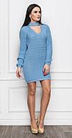 Платье с вязаным ожерельем голубое