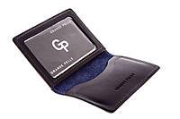 Обкладинка на ID паспорт автодокументи права Grande Pelle 100х70х10 глянцева шкіра синій, фото 1