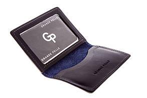 Обкладинка на ID паспорт автодокументи права Grande Pelle 100х70х10 глянцева шкіра синій