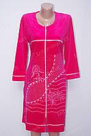 Велюровый халат с вышивкой на замке L - 2XL розовый