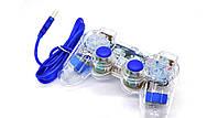 Проводной прозрачный джойстик для PC Dual Shock Controller (синий)