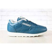 Женские кроссовки, кожаные, синие 37