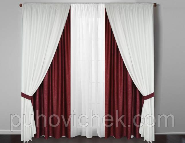 плотные шторы для спальни в комплекте с тюлем купить недорого