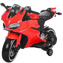 Детский электрический мотоцикл M 3467 EL-3 Honda красный, кожаное сиденье и мягкие колеса