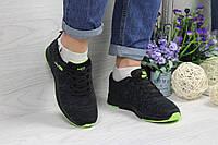 Кроссовки женские Adidas Neo код товара SD-4846. Темно-серые с салатовым