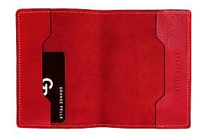 Шкіряна обкладинка на паспорт Grande Pelle 140х100 мм глянцева шкіра Sicillia червоний
