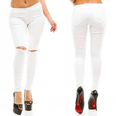 41efece9bb3 Штаны джинсы стрейч Разрезы на коленях низкая посадка Белые  продажа ...