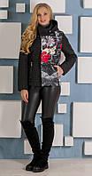 Куртка с вставкой ткани с принтом черная, фото 1