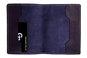 Шкіряна обкладинка на паспорт Grande Pelle 140х100 мм глянцева шкіра синій