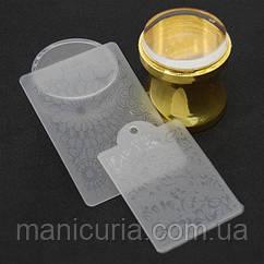 Штамп силиконовый прозрачный YRE с двумя пластинами, золотой