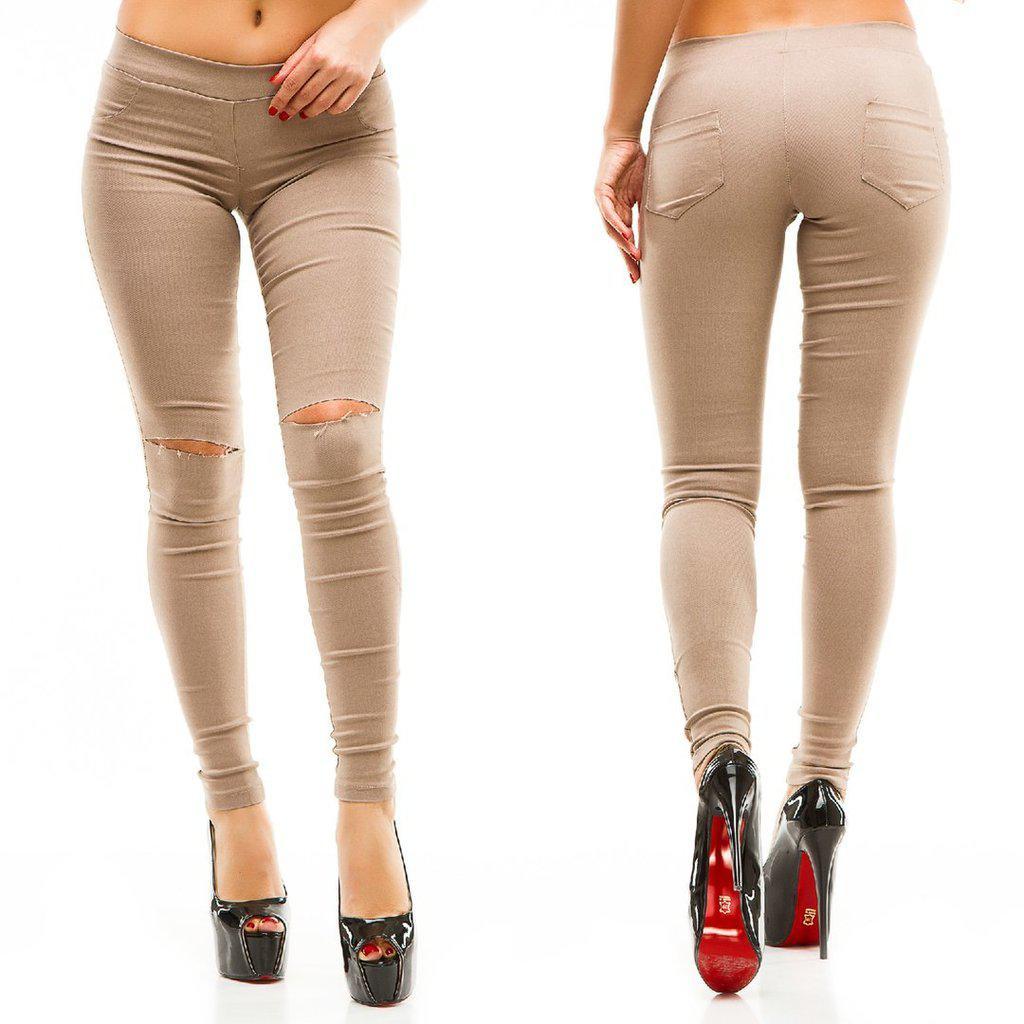 298ffc3b5b8 Штаны джинсы стрейч Разрезы на коленях низкая посадка Бежевые ...