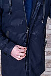 Чоловіча демісезонна куртка (подовжена), темно-синього кольору, фото 5