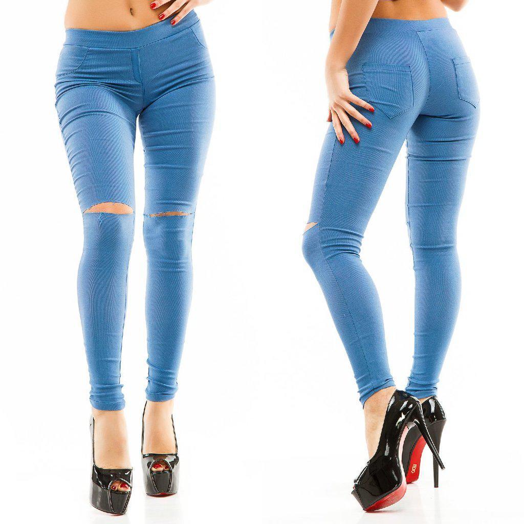 e009796877c Штаны джинсы стрейч Разрезы на коленях низкая посадка Голубые ...