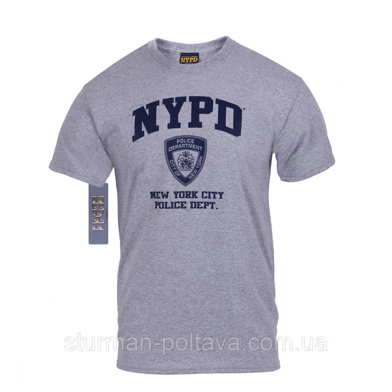 """Футболка чоловіча логотип 'NYPD"""" поліція офіційна сіра США"""