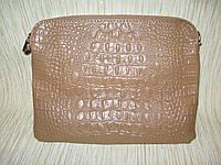 Клатч из натуральной кожи с тиснением бежевый, фото 1