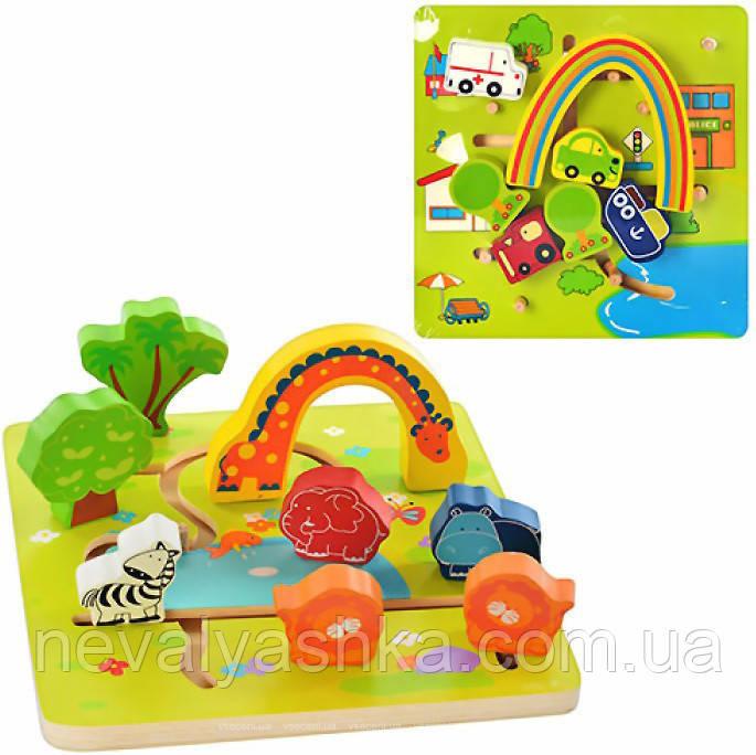 Деревянная игрушка Лабиринт Радуга и Трансорт Деревянный, MD 0526, 003675