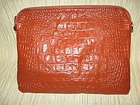 Клатч из натуральной кожи с тиснением рептилия, фото 1