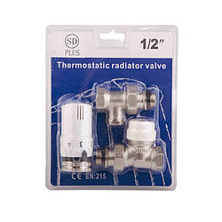 SD Комплект кранов с термоголовкой радиаторный прямой 1/2''   SD353W15