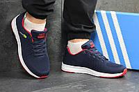 Мужские кроссовки Adidas Neo,темно синие с красным,сетка