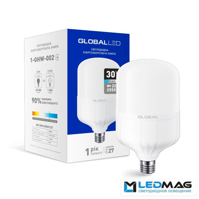 Светодиодная мощная LED лампа GLOBAL HW 30Вт 6500K E27 промышленная